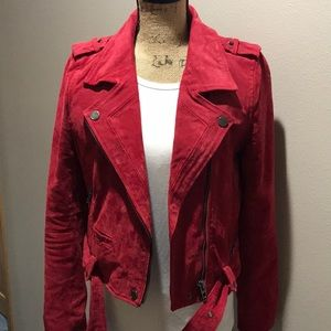 Buttery-soft, red suede moto jacket